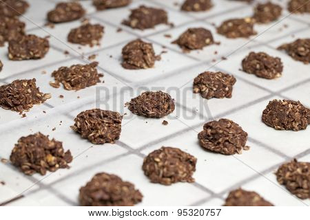 No Baked Cookies Set into Rows