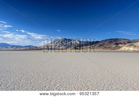 The Racetrack Playa Dry Lake In Death Valley National Park In California