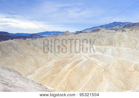Unique And Fanciful Badlands Formations Of Zabriskie Point In Death Valley National Park In Californ