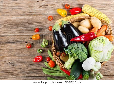 Composition With Variety Of Fresh Organic Vegetables, View From Above