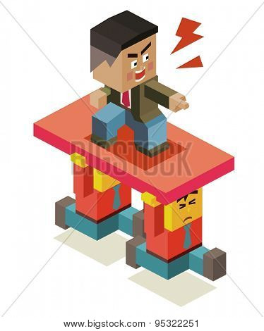 cruel boss on staff. vector illustration