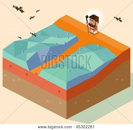 moses split sea. vector illustration