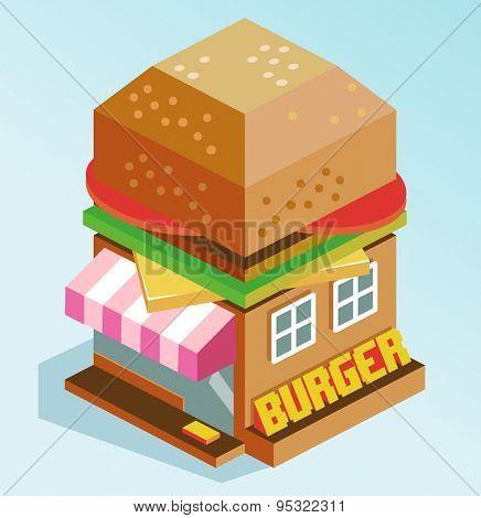 brown burger house. vector illustration