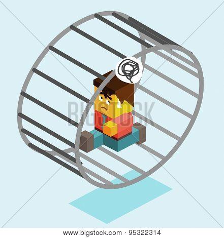modern slavery on wheel. vector illustration