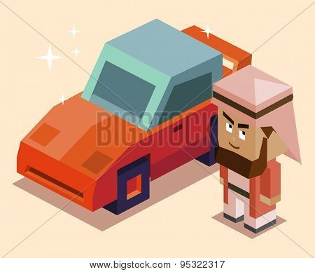 rich arabic with sport car. vector illustration