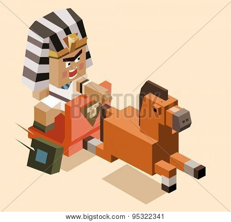miserly of ramses chases. vector illustration