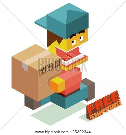 free shipping courier boy. vector illustration