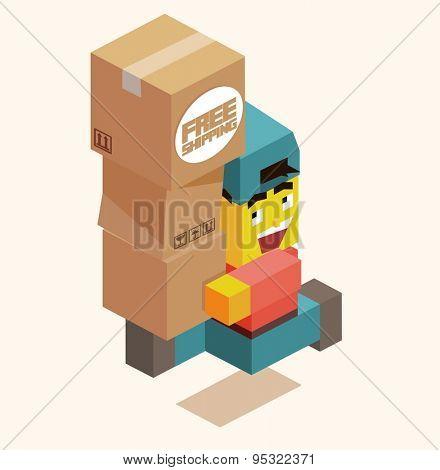 happy delivery boy. vector illustration