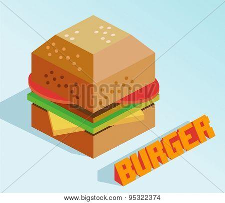 delicious burger isometric. vector illustration