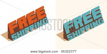 free shipping text. vector illustration