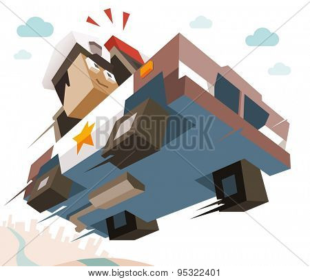 Police Officer chase criminal. vector illustration