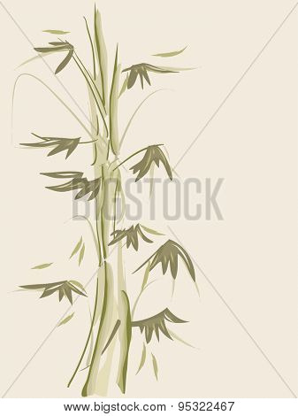 Background Illustration of Bamboos Drawn with Wispy Strokes