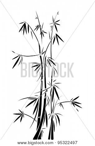 Black and White Stencil Illustration of Intertwined Bamboos