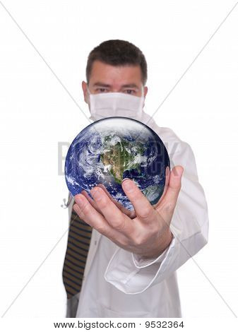 Doctor Holds World Globe Featuring America