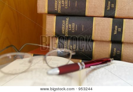 Books Glasses And Pen