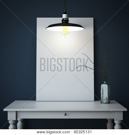 Interior with table and white canvas. 3d rendering