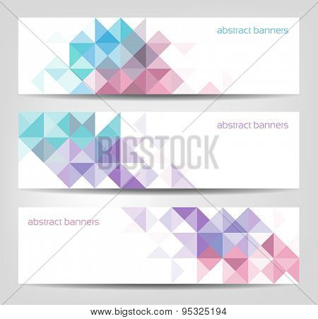 Collection of three abstract banners for web or print