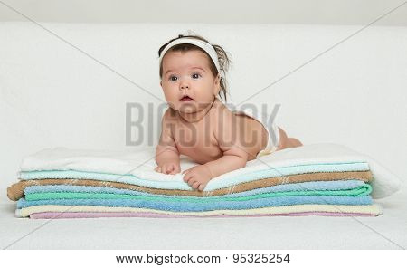 one happy baby on towel