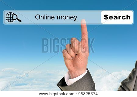 Businessmans hand onblue sky background