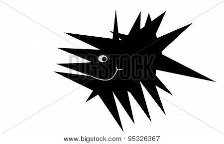 black cartoon fish spike