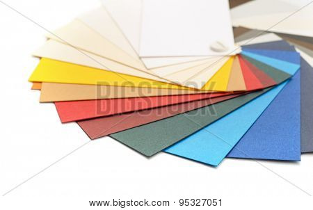 Samples of color cardstock paper