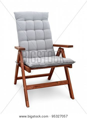 Wooden folding chair isolated on white