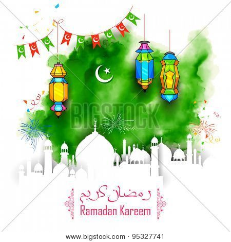 illustration of Grungy Ramadan Kareem (Generous Ramadan) Background with mosque