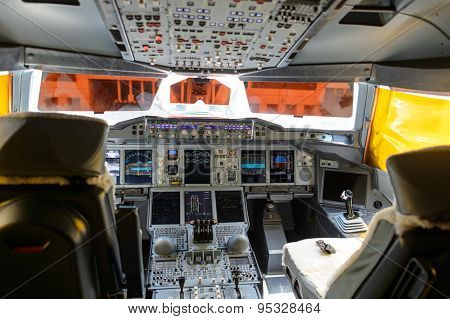 DUBAI, UAE - JUNE 22, 2015: Emirates A380-800 cockpit interior. Emirates is one of two flag carriers of the United Arab Emirates along with Etihad Airways and is based in Dubai.