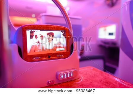 HONG KONG - JUNE 18, 2015: Emirates Airbus A380 business class interior. Emirates is one of two flag carriers of the United Arab Emirates along with Etihad Airways and is based in Dubai.