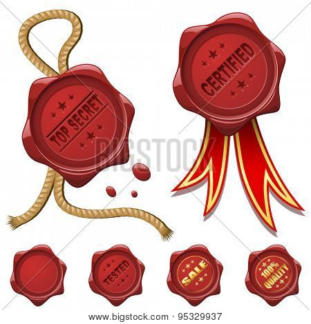 Collection of red wax seals isolated on white.
