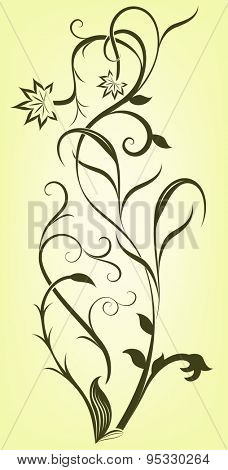 Abstract floral branch design element.