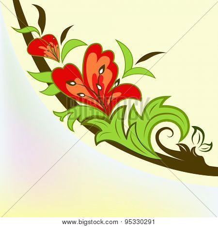 Colorful floral design element isolated on yellow background.