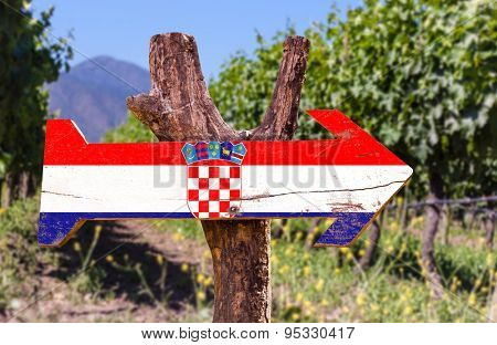 Croatia Flag wooden sign with winery background