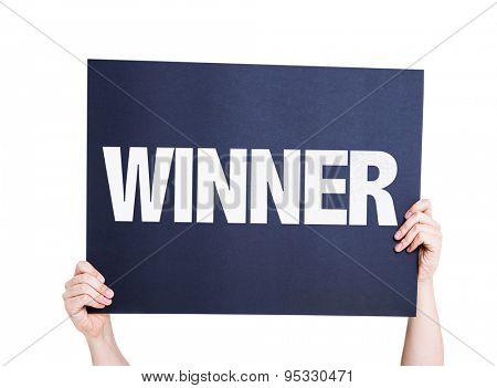 Winner card isolated on white