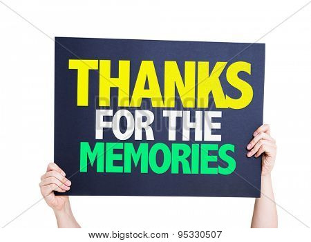 Thanks For The Memories card isolated on white
