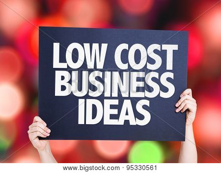 Low Cost Business Ideas card with bokeh background