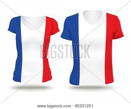 Flag shirt design of France - vector illustration