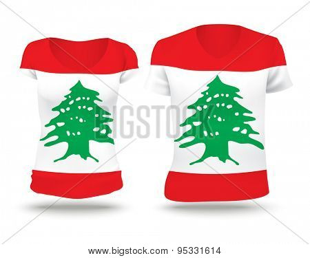 Flag shirt design of Lebanon - vector illustration