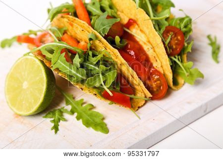 Food. Delicious taco on the table