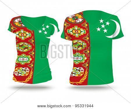 Flag shirt design of Turkmenistan - vector illustration
