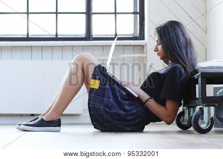 Study, lifestyle. Beautiful girl studying with laptop