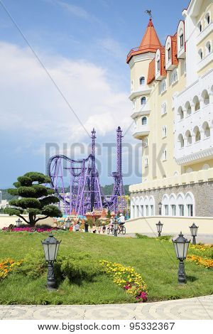 SOCHI, RUSSIA - JUL 27, 2014: Hotel Bogatyr in the style of a medieval castle on the territory of Sochi Park