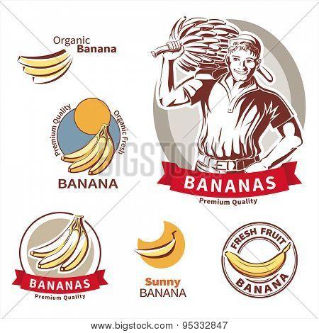 Banana labels. Vector design set.