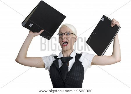 Business Woman With Folders In Her Hands.