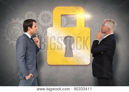 Thinking businessman against white and grey background