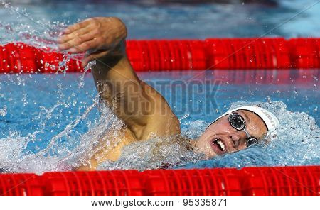 BARCELONA - JUN. 10: Hungarian swimmer Katinka Hosszu swimming crawl during the Trophy Ciutat de Barcelona in Sant Andreu Club June 10 2015 in Barcelona Spain