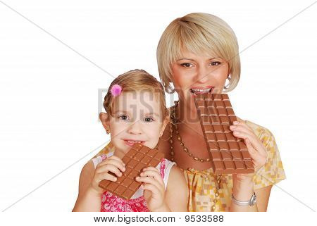 mother and daughter with chocolate