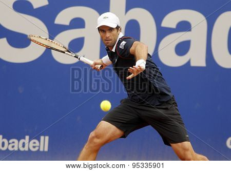 BARCELONA - APRIL, 22: Spanish tennis player Pablo Andujar in action during a match of Barcelona tennis tournament Conde de Godo on April 22, 2015 in Barcelona