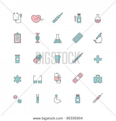 set of line minimalistic medical icons