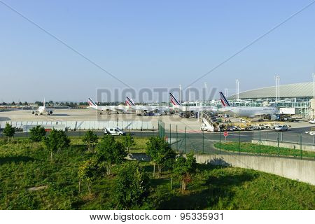 PARIS - SEPTEMBER 10, 2014: Charles de Gaulle Airport. Paris Charles de Gaulle Airport, also known as Roissy Airport, is one of the world's principal aviation centres
